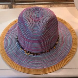 "NWT Blue Pink Metallic 13"" Hat With Beads"